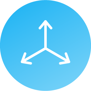 Light blue circular icon that is open on three sides